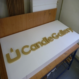 Polystyrene logos and signs